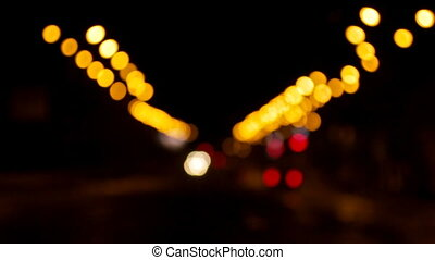Blurred night road lights