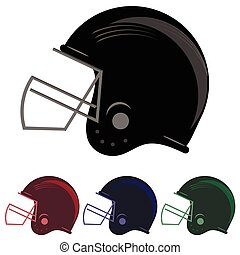 Colorful Football Helmet Icons - Set of Colorful Football...