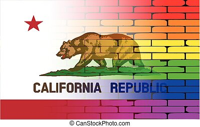 Gay Rainbow Wall California Flag - A well worn wall painted...
