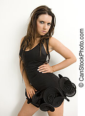 glamour model - young brunette glamout model wearing...
