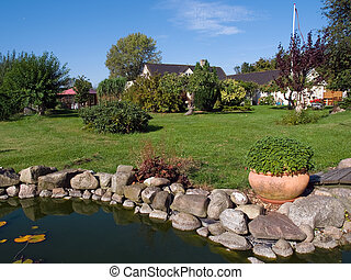 Beautiful garden with pond - Beautiful summer backyard...
