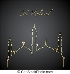 ied mubarak_line art - illustration of a mosque for ied...