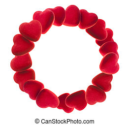 round frame of red hearts
