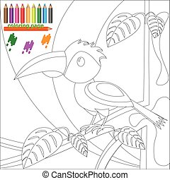Coloring page of bird on the tree for children