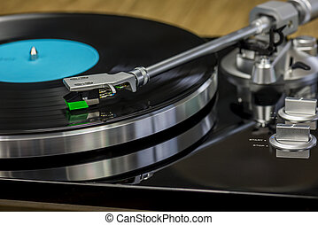 retro record player - nice retro record player with spinning...
