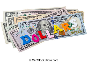 Single word - dollars - Various dollar bank notes and Single...