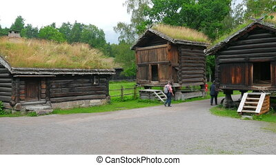 """""""people at norwagian village houses with green grass..."""