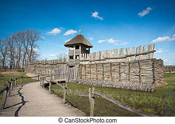 Biskupin main gate - slavic excavation site and museum