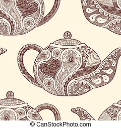 Seamless pattern made of patterned teapots