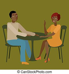 Vector illustration of african couple having conversation.