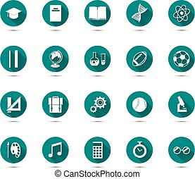 Set of education flat icons with long shadow on green...