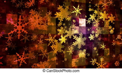 Broadcast Rising Snow Flakes, Multi Color, Events, Loopable, HD