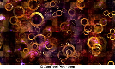 Broadcast Spinning Hi-Tech Rings, Multi Color, Abstract, Loopable, HD