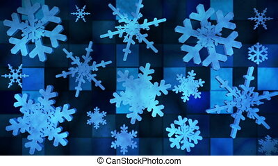Broadcast Spinning Hi-Tech Snow Flakes, Blue, Events, Loopable, HD
