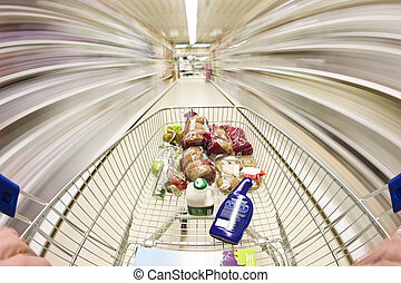 Shopping cart - shopping cart in motion around the...