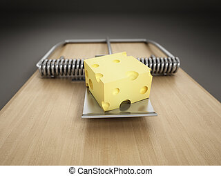 Mousetrap with a piece of cheese isolated on white...