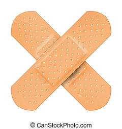 Adhesive plaster cross shape isolated on white background.