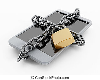 Locked smartphone - Locked and chained secure smartphone...