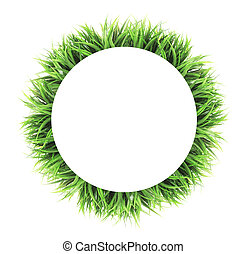 circle grass frame isolated on white background - circle...