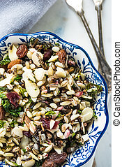 Healthy brunch, almonds and orzo salad, clean eating