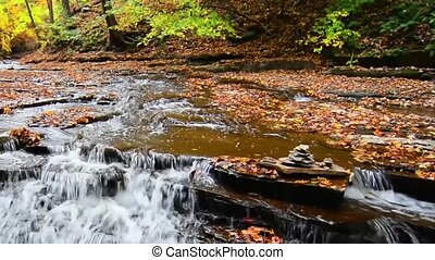 Autumn Waterfall - A small waterfall on Brandywine Creek in...
