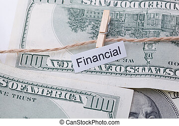 Money and business idea, The dollar bills with rope, with a sign - Financial