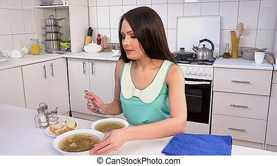 Timelapse of woman eating soup. - Timelapse of woman eating...