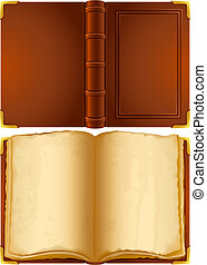 old book - Vector illustration - open old book