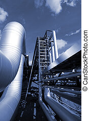 industrial pipelines on pipe-bridge in blue tone