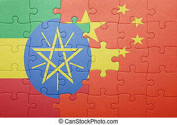 puzzle with the national flag of china and addis ababa ....