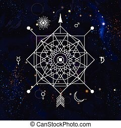 Abstract mystical geometry symbol. Linear alchemy, occult,...