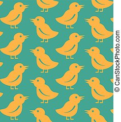 Seamless Tweet Bird Pattern - Seamless yellow tweet bird...