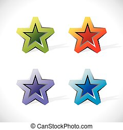 Glossy icons in the form of stars