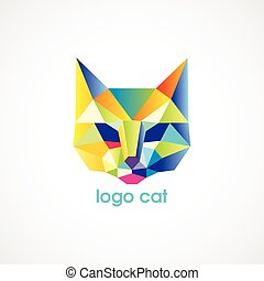vector logo cat consist of colorful triangles. Vector...