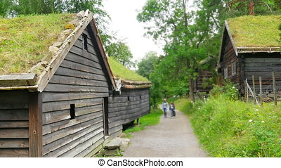 """""""beautiful norwagian village houses with green grass..."""