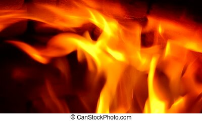 Fire in fireplace Closeup of firewood burning in fire
