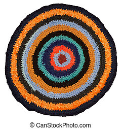 handmade round many-colored rag - texture of handmade round...