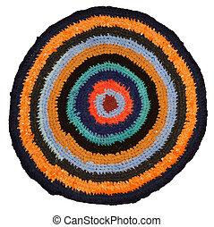 handmade round many-colored rag - texture of handmade round...