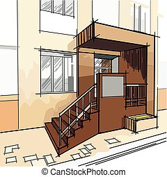 vector drawing with entrance to the