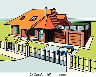 vector image with house