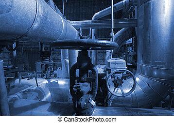 tubos, tubos, maquinaria, vapor, turbina, potencia, planta