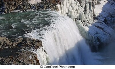 Waterfall in Icelanmd - Gullfoss waterfall in Iceland with...