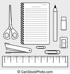 illustration of stationery set, office supplies - vector of...