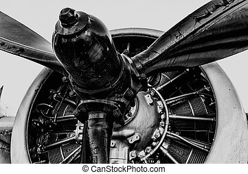 Vintage Propeller - Front view of vintage propeller driven...