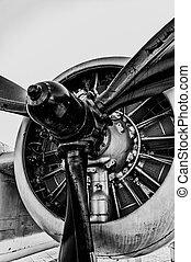 Vintage Propeller - Front view of vintage propeller driven...