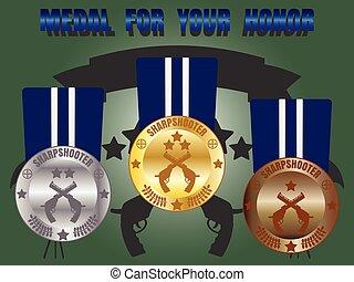 Medal skill honor sharpshooter set - Medal skill honor...