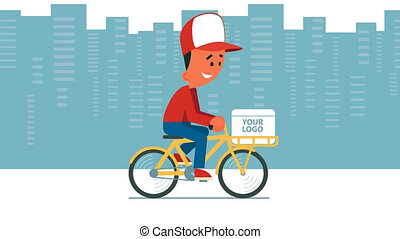 Delivery service - Cartoon young man riding a bicycle with...