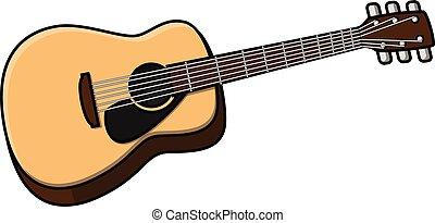 guitarra, caricatura, Ilustración, clásico