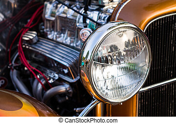 Head Light on a Collectors Car - Close up of headlights of a...