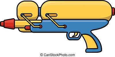 Water gun cartoon illustration